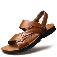 גברים נעליים עור אביב קיץ סתיו סוליות מוארות מגפיים אופנתיים נוחות סנדלים קפלים עבור קזו'אל מסיבה וערב צהוב חום