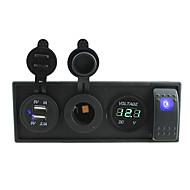 DC 12V / 24V LED-Stromvoltmeters 3.1a USB-Anschluss Steckdosen mit Kippschalter Prüfkabeln und Gehäusehalter