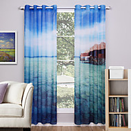 Dvije zavjese Prozor Liječenje Moderna , Priroda i pejzaži Living Room Polyester Materijal Sheer Zavjese Shades Početna Dekoracija For