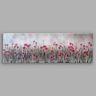 Maalattu Abstrakti Kukkakuvio/Kasvitiede Vaakasuora,Moderni 1 paneeli Kanvas Hang-Painted öljymaalaus For Kodinsisustus