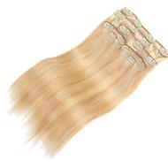 9pcs / קליפ 120g דלוקס להגדיר תוספות שיער מעורב שיער אדם ישר בלונדיני 20inch 16inch 100% לנשים