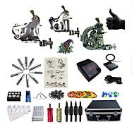 Полный комплект татуировки 2 х Стальная тату-машинка для контура и заливки 3 татуировки машины Светодиодный источник питанияЧернила