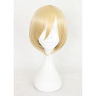 Naisten Synteettiset peruukit Suojuksettomat Lyhyt Suora Kinky Straight Medium Blonde Bob-leikkaus Otsatukalla Cosplay-peruukki Halloween