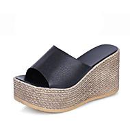 Dames Sandalen Comfortabel PU Zomer Causaal Wandelen Comfortabel Uitgehold Sleehak Wit Zwart 5 - 7 cm