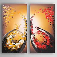 Maalattu Asetelma Neliö,Moderni 2 paneeli Kanvas Hang-Painted öljymaalaus For Kodinsisustus