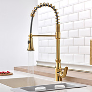 Golden Pull-out/Pull-down Kitchen Faucet Standard Spout Centerset Thermostatic Rain Shower Pullout Spray Kitchen Mixer