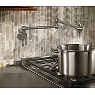 Contemporary Country Modern Pot Filler Centerset Widespread Rotatable with  Ceramic Valve Two Handles One Hole for  Nickel Brushed ,