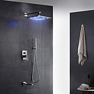 Moderne Art Deco/Retro Vægmonteret LED Regndusj Træk-udsprøjte with  Messing Ventil Enkelt håndtak To Huller for  Krom , Dusjkran