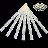 1set 50 strips 150 fragment ny mote natrual spikart bambus stil fanebord med metall rundt ring praktisk nagel falske tips manikyr verktøy