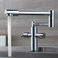 Contemporary Pot Filler Centerset Rotatable with  Ceramic Valve Two Handles One Hole for  Chrome , Kitchen faucet