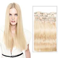 9pcs / set 디럭스 120g # 613 금발 머리 클립에 머리 확장 16inch 20inch 100 % 스트레이트 인간의 머리카락