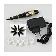 1set permanent makeup øyenbryn tatovering penn maskin nåler tips strømforsyning kit