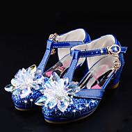 女の子-ウェディング ドレスシューズ カジュアル パーティー-レザーレット グリッター-フラットヒール-アイデア フラワーガールの靴 コンフォートシューズ-ウェディングシューズ-