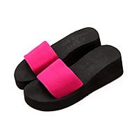 Feminino Chinelos e flip-flops Conforto Tecido Verão Casual Conforto Anabela Preto Fúcsia Rasteiro