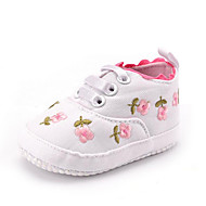Newborn Baby Girl's Kids' Sneakers First Walkers Twill Fall Winter Party & Evening Dress Casual Gore Flower Flat Heel Blushing Pink White Flat