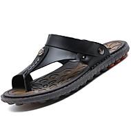 Αντρικό Παντόφλες & flip-flops Ανατομικό Δερμάτινο Καλοκαίρι Causal Περπάτημα Ανατομικό Καρφιά Επίπεδο Τακούνι Μαύρο Καφέ Μπλε 5εκ - 7εκ