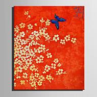 Ručno oslikana Cvjetni / Botanički Vertikalno,Retro Jedna ploha Platno Hang oslikana uljanim bojama For Početna Dekoracija