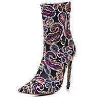 Feminino Botas Sapatos bordados Tecido Outono Inverno Escritório & Trabalho Festas & Noite Social Casual Botas da Moda Ziper FlorSalto