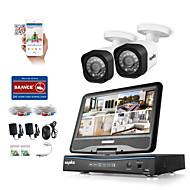 Sannce® 4ch 2шт 1080p lcd dvr защищенная от непогоды система безопасности, поддерживающая аналоговую ahd tvi ip-камеру без hdd