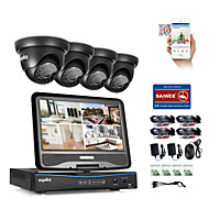 Sannce® 4ch 1080p lcd dvr система безопасности поддерживается 720p аналоговый ahd tvi ip-камера без hdd