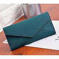 Mulher Porta Cheques Couro Ecológico Todas as Estações Casual Fecho de Apertar Cinzento Verde Rosa claro
