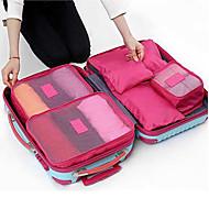 6pcs 旅行かばん パッキングキューブ 荷物整理 防水 防塵 耐久 折り畳み式 のために 小物収納用バッグ オックスフォードクロス-グリーン ブルー ピンク ワイン ネービーブルー