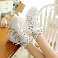 Feminino Sapatos Couro Ecológico Primavera Conforto Tênis Salto Grosso Anabela Para Casual Branco Bege