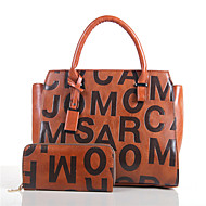női táska állítja pu minden évszakban sport alkalmi irodai&karrier shell nyomtatás cipzár barna, vörös, fekete, fehér