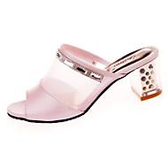 Damer Sandaler Komfort PU Sommer Afslappet Gang Komfort Lav hæl Hvid Lys pink 2,5-4,5 cm