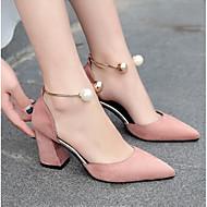 Ženske Cipele na petu Obične salonke Prava koža PU Ljeto Kauzalni Crn Bež Pink Burgundac 10 cm - 12 cm