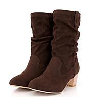 Feminino Sapatos Couro Ecológico Outono Inverno Conforto Botas da Moda Botas Com Para Casual Preto Cinzento Marron