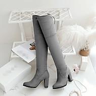 Feminino Sapatos Couro Ecológico Outono Inverno Conforto Botas Plataforma Ponta Redonda Com Para Casual Preto Cinzento