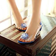 Femme Chaussures Polyuréthane Eté Confort Sandales Talon Compensé Bout ouvert Avec Pour Décontracté Blanc Rouge Bleu