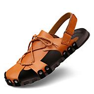 Heren Sandalen Comfortabel Zomer Herfst Nappaleer Waterschoenen Formeel Zwart Lichtbruin 2,5 - 4,5 cm