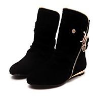 Dames Schoenen Fleece Winter Modieuze laarzen Laarzen Platte hak Korte laarsjes/Enkellaarsjes Voor Causaal Zwart Paars Geel Rood