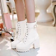 Naiset Kengät PU Kevät Syksy Comfort Bootsit Leveä korko Pyöreä kärkinen Kanssa Käyttötarkoitus Kausaliteetti Valkoinen Musta Ruskea