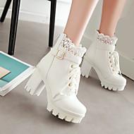 Naiset Kengät PU Talvi Comfort Bootsit Leveä korko Platform Pyöreä kärkinen Kanssa Käyttötarkoitus Kausaliteetti Valkoinen Musta