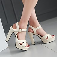 Femme Chaussures Polyuréthane Printemps Confort Chaussures à Talons Talon Aiguille Bout ouvert Avec Pour Décontracté Blanc Noir Rose