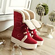 Feminino Sapatos Couro Ecológico Outono Inverno Conforto Botas Rasteiro Ponta Redonda Com Para Casual Bege Amarelo Vermelho