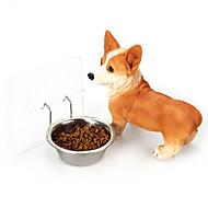 犬 餌入れ/水入れ ペット用 ボウル&摂食 携帯用 シルバー ステンレス鋼