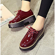 Ženske Oksfordice Udobne cipele Jesen Lakirana koža Kauzalni Crn Burgundac 5 cm - 7 cm