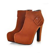 Dames Schoenen PU Herfst Comfortabel Hoge hakken Met Voor Causaal Zwart Geel Rood Blauw