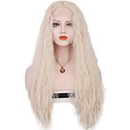 Žene Sintetičke perike Lace Front Dug Valovita kosa Srebro Središnji dio Sew in 100% kanekalon kose S mldom kosom Cosplay perika Kostim
