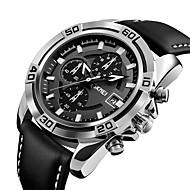 9156 skmei mænds mode sport militære ure chronograph læder mens kvarts armbåndsure vandtæt relogio masculino