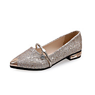 Feminino Sapatos Couro Ecológico Primavera Verão Conforto Mocassins e Slip-Ons Salto Grosso Salto de bloco Dedo Apontado Para Casual