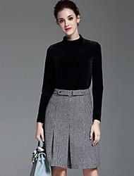 Dámské Jednobarevné Běžné/Denní Jednoduché Sada Sukně Obleky-Podzim Polyester Rolák Dlouhý rukáv Černá