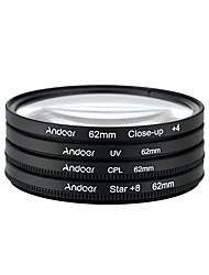 Aoer 62mm uv cpl close-up4 hvězda 8-bodový filtr kruhový filtr kit kruhový polarizátor filtr makro detail hvězda 8-bodový filtr s taškou