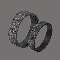 Delicate Black Stainless Steel Couple's Rings