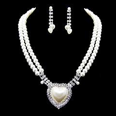 Dejlig Imitation Pearl Med Rhinestone Dame Smykker Set herunder halskæde, øreringe