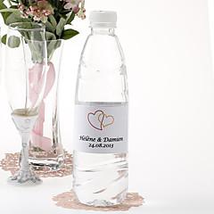 Garrafa de água personalizada Sticker - Coração duplo (laranja / conjunto de 15)